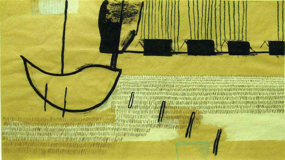 ALTKUENKEND, 2003, Kohle, Tusche, Gesso, Kreide auf Packpapier, 75 x 99 cm
