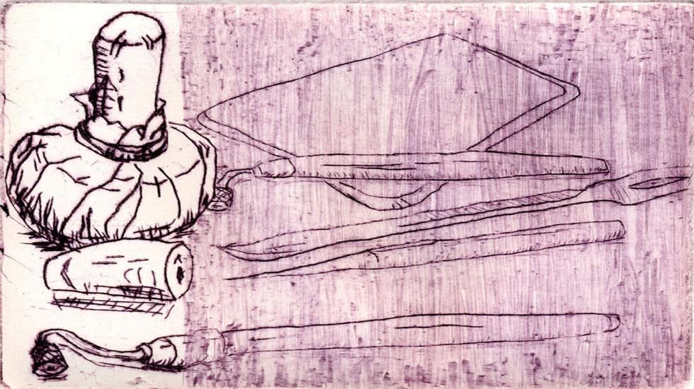 EHEUTENSILIEN-RADIERWERKZEUG, 11/2004, Kaltnadelradierung, geschabt, 9,5 x 14 cm