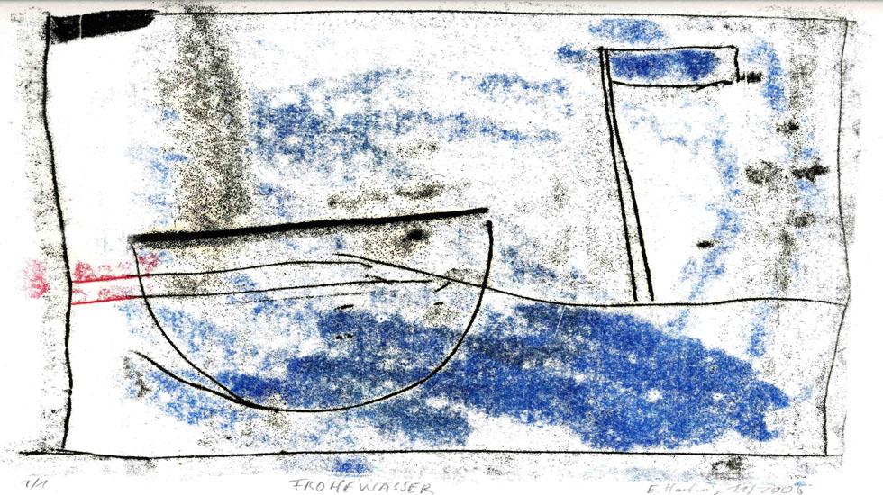 FROHEWASSER, 2006, 3-Farb-Monotypie, 21 x 24 cm