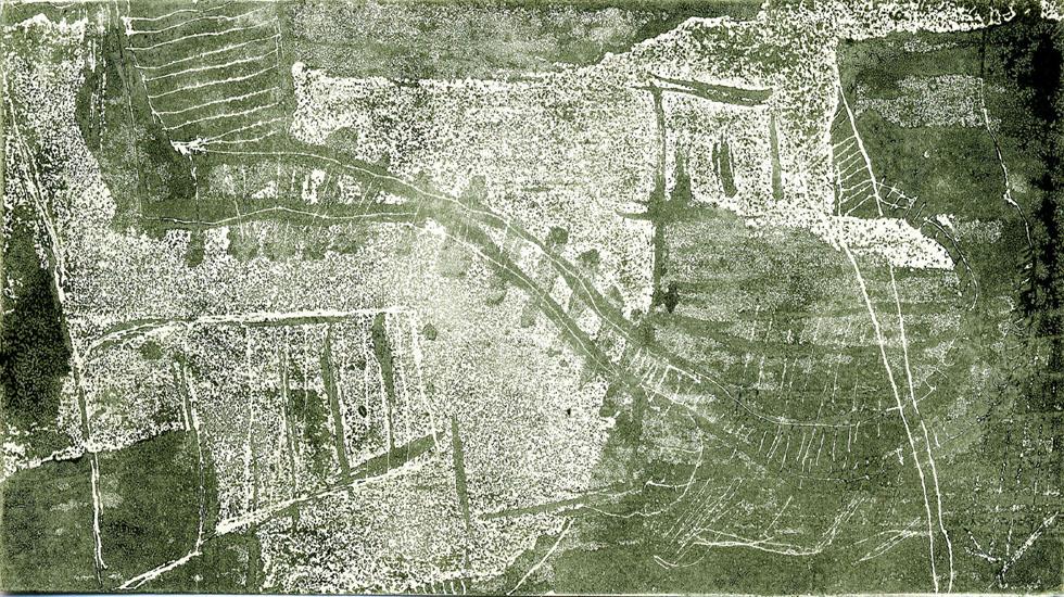 GLEISDAMM, 2000, Überwalzte Aquatinta-Strichätzung, Unikat, 8,6 x 19,9 cm