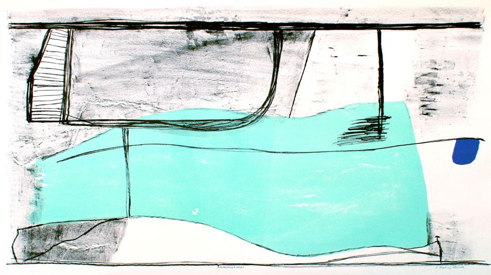 ROCKSANDFIELDS, 08/2009, 3-Farb-Kreide-Tusche-Lithographie, 56 x 76 cm