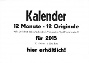 """Verkaufs-Werbeschild """"12 Monate"""", 27.08.2014, Blei-Handsatz mit 120 p Holz-Plakatschrift, 48 p Super fett und 20 p Super mager auf 48 cic Satzbreite, 5 Exemplare auf 80 g/m2 xerox weiß 21 x 29,7 cm, handeingefärbt und handabgezogen"""