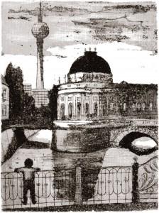 "Arno Mohr, ""Am Bodemuseum"", Aquatinta-Radierung, o.J., 28,0 x 21,0 cm"