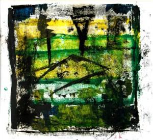ABENDSONNE, 05/2008, 5-Farb-Monotypie, Unikat, 27 x 29 cm