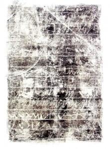 AUFZEICHNUNGEN, BLATT 13, 2003, Monotypie, 75 x 52 auf 100 x 70 cm