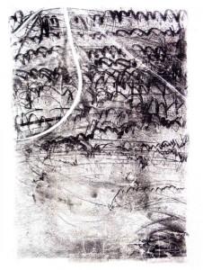 AUFZEICHNUNGEN, BLATT 16, 2003, Monotypie, 75 x 52 auf 100 x 70 cm