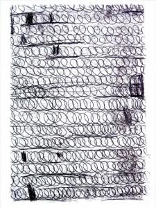 AUFZEICHNUNGEN, BLATT 3, 2003, Monotypie, 75 x 52 auf 100 x 70 cm