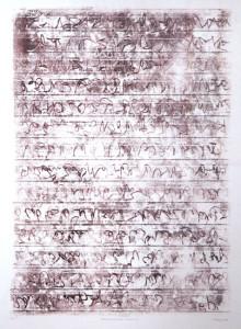 AUFZEICHNUNGEN BLATT 31, 2006, Braun/Braun-Monotypie, 70 x 49 auf 100 x 70 cm