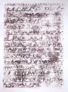 AUFZEICHNUNGEN BLATT 44, 2006, Braun/Braun-Monotypie, 69 x 48 auf 100 x 70 cm