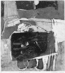 Auf der Strecke, 06/2000, Aquatintaradierung mit Strichätzung, geschabt und Kaltnadel, 21,5 x 19,5 cm