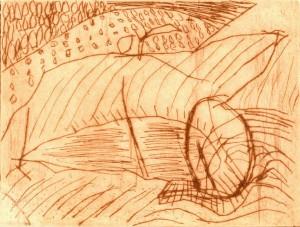 BEI SPOLETO, 1997/2000, Kaltnadelradierung, 11,8 x 15,4 cm