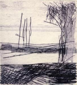 BODDEN, 06/2002, Kaltnadelradierung, 11,2 x 10,2 cm