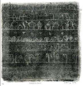 FAHRTENBUCH, 2012, Schwarz-Monotypie, 21 x 21 cm auf 30 x 42 cm
