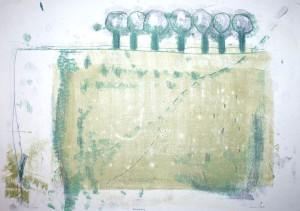 FELDRAND, 2005, 3-Farb-Monotypie, 31,5 x 44 cm