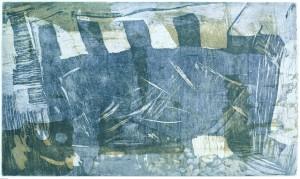 GALLION, 08/2001, 2-Farbplatten-Aquatintaradierung geschabt, 29 x 48,5 cm