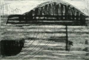 GRIPSHELM, 11/2000, Kaltnadelradierung mit Wiegemesser, geschabt, 20 x 29,3 cm