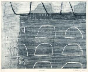 KORNVELT, 02/2004, Schab-Aquatinta mit Strichätzung, Kaltnadel und Wiegemesser, 19,7 x 24,7 cm