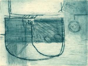 MASCHINENPAUSE I, 07/2000, Kaltnadelradierung mit Sandpapier, 11,5 x 15 cm