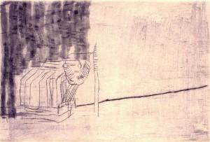 MASCHINENPAUSE II, 2000, Kaltnadelradierung und Wiegemesser, geschabt, 11 x 16 cm