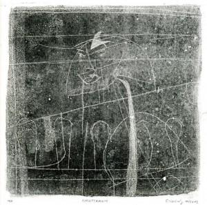 NACHTTRAUM, 11/2013, Schwarz-Monotypie, 20 x 20 cm