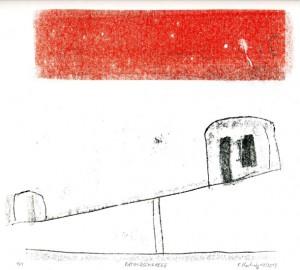 ROTUNDSCHRAEGE, 11/2013, 2-Farb-Monotypie, 20 x 22,5 cm