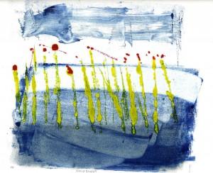 SCHILFBLUEHT, 04/2010, 3-Farb-Monotypie, 21 x 24 cm