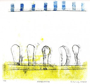 SCHOENERTAG, 11/2013, 3-Farb-Monotypie, 20,5 x 21,5 cm