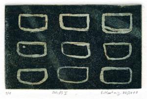 SHIPS I, 06/2010, 2-Farbplatten-Aquatinta und Strichätzung, Unikat, 6,9 x 11,2 cm
