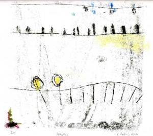 SONNIG, 05/2006, 4-Farb-Monotypie, 21 x 22 cm