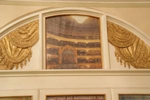 Mariinski-Theater, Kassen-Vorraum-Detail mit Zuschaueremporen-Foto, 19.07.2014
