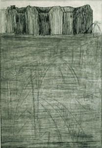 STATTBAHN, 11/2000, Kaltnadelradierung, Sandpapier, geschabt, 29 x 20 cm