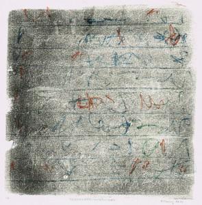 Skript BRIEFMITHERVORHEBUNGEN, 2012, 3-Farb-Monotypie, 21,5 x 21 cm