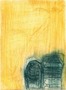 TERASSE, 05/2000, 2-Farb-Kaltnadelradierung, Sandpapier geschabt, 14,2 x 10,5 cm