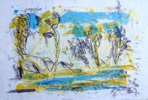 TREESBYACREEK, 08/2009, 4-Farb-Monotypie, 40,5 x 61 cm