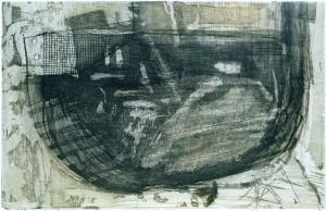 TROCKENDOCK, 04/2001, Schab-Aquatintaradierung mit Kaltnadel, Crayon und Wiegemesser, 20x31cm