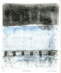 UEBERMBLAU, 11/2013, 2-Farb-Monotypie, 24 x 20 cm