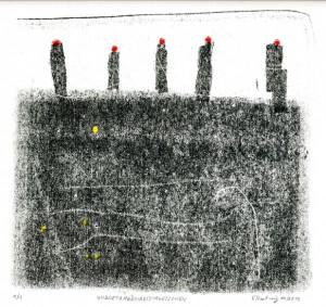 UNDSIETRAGENROTEMUETZCHEN, 11/2013, 3-Farb-Monotypie, 19,5 x 20,5 cm