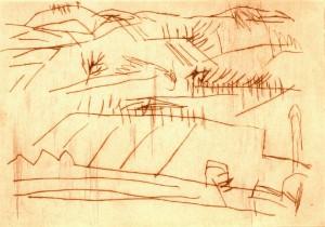 VOR ASSISI, 1997/2000, Kaltnadelradierung, 11 x 15,5 cm