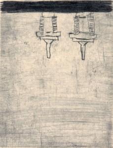 WARTEN, 06/2000, Kaltnadelradierung geschabt, 13 x 9,7 cm