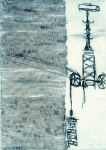 WARTEN II, 06/2001, Kaltnadelradierung mit Wiegemesser, 16,5 x 12 cm