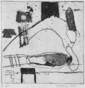o.T., 10/1995, Aquatintaradierung mit Strichätz und Kaltnadel, 14 x 14 cm