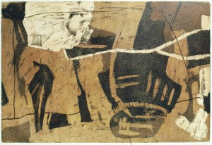 o.T. -DS-, 10/1998, Aquatintaradierung mit Strichätz und Kaltnadel, 24 x 35,5 cm