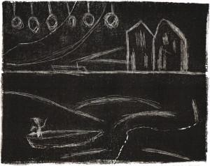 DEFISCHER, 06/2015, schwarze Schab-Lithographie, 22,5 x 28 cm