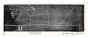 FIGUERES, 10/2011, überwalzte Strichätzung, 3,8 x 11,4 cm