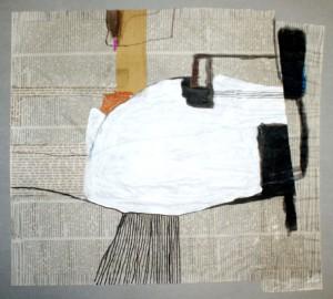 GLOORT, 2000, Mischtechnik und Collage auf Zeitpapier, 36 x 40 cm