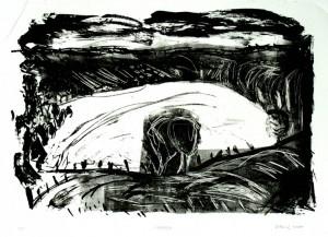 HOFEFELD, 3/2009, Kreide-Tusche-Schablithographie, 27 x 39 cm