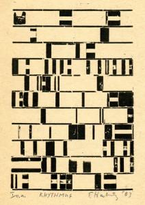 RHYTHMUS, 2003, Blei-Blindmaterialdruck, 10,9 x 7,3 cm