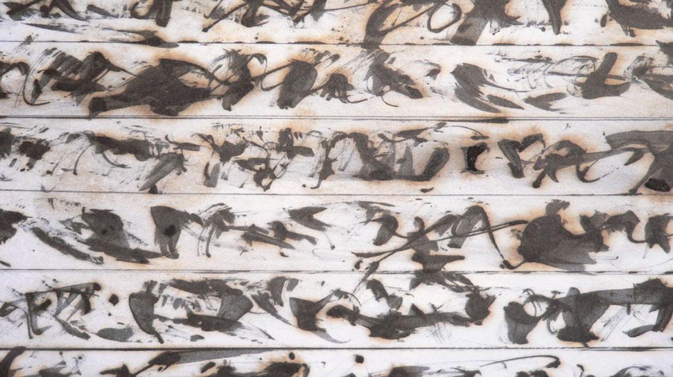 Schrift-Detail aus einem der BRIEF´e, 2006, Rohrfeder, Fett-Tusche, Pigmente auf Papier, insgesamt 3,25 x 1,33 m