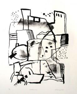 WASSERBURG, 2001, Tusche-Kreide-Lithographie, 26 x 21 cm