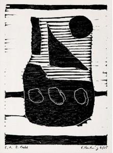 o. T. -Boot-, 1995, Holzschnitt, 13,5 x 9,8 cm auf 19,8 x 20,8 cm Buchdruckpapier